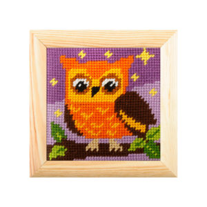 Orchidea Owl (halfstitch kit 10,5x10,5cm frame) | The Knitting Club