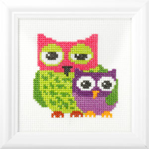 Orchidea Owls (counted cross-stitch kit 13x13cm frame) | The Knitting Club
