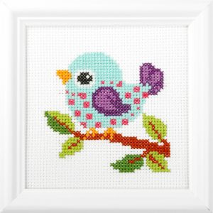 Orchidea Bird (counted cross-stitch kit 13x13cm frame) | The Knitting Club