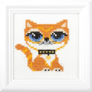 Orchidea Cat (counted cross-stitch kit 11x11cm frame) | The Knitting Club
