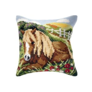 Orchidea Horse seated (cross-stitch kit 40x40cm printed canvas) | The Knitting Club