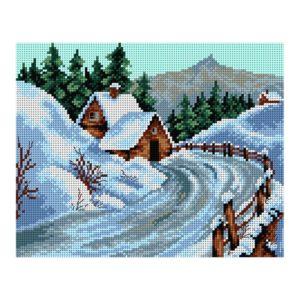 Orchidea Winter landscape (printed gobelin canvas 24x30cm) | The Knitting Club